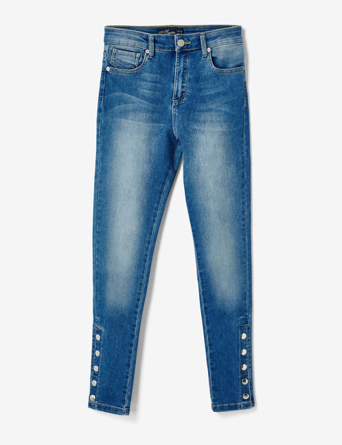 Medium blue jeans with press-stud detail