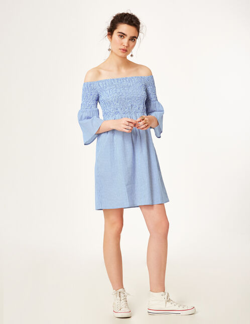 Light blue and white striped off-the-shoulder dress