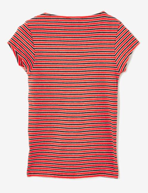 tee-shirt col v et fronces rayé rouge, noir et blanc