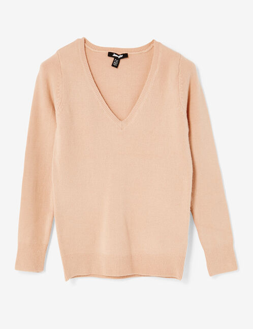 pull toucher cachemire rose clair