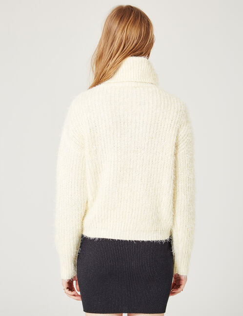 Cream mohair-effect jumper with lurex detail