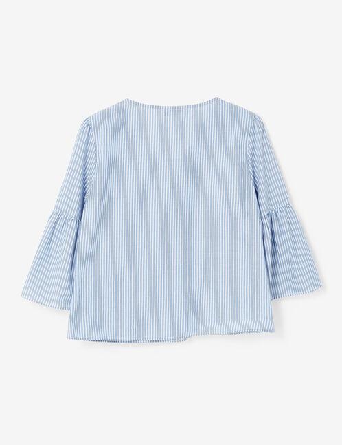 blouse rayée avec laçage bleue et blanche