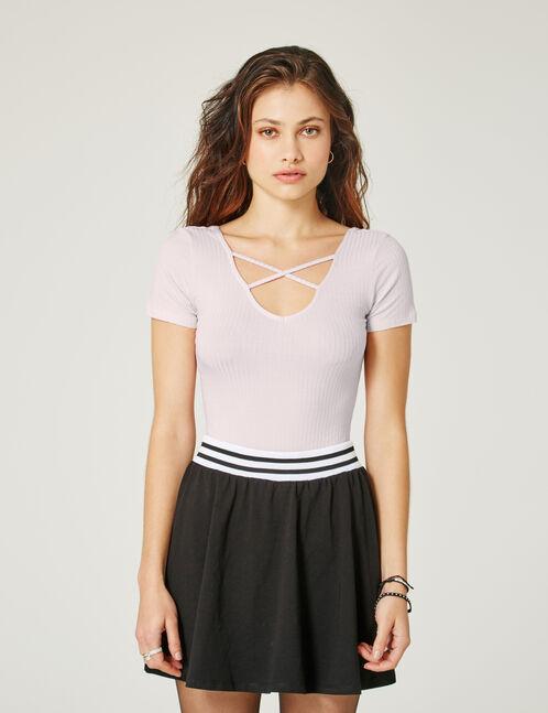 Light pink V-neck bodysuit with strap detail