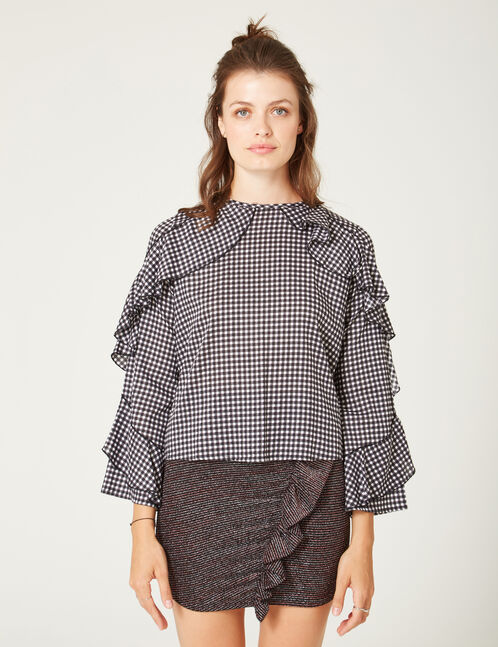 Black and white gingham blouse with frill detail