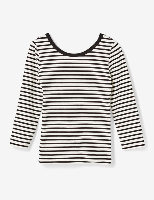 tee-shirt rayé décolleté dos écru et noir