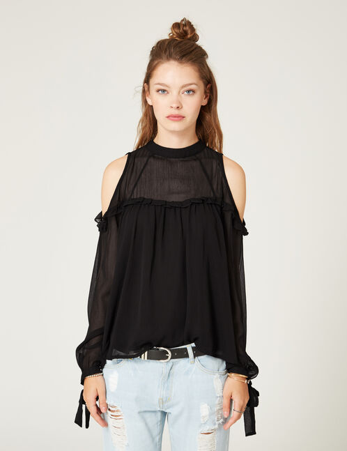 Black blouse with tie detail