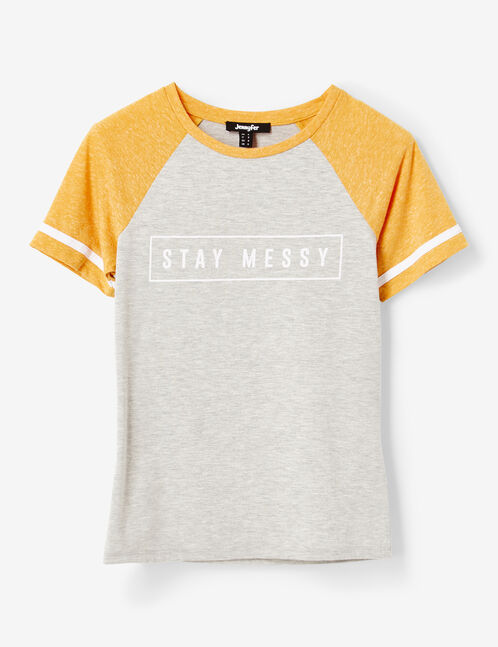 Grey marl and ochre two-tone T-shirt with text design detail