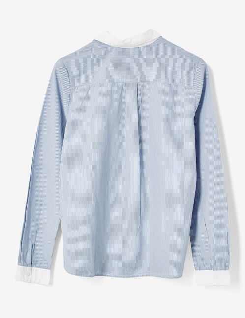 Light blue and white blouse with embroidered collar detail