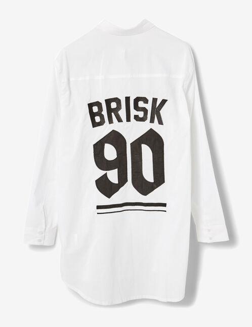 chemise longue à message blanc