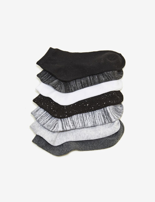 Black, grey and white solid and marl socks