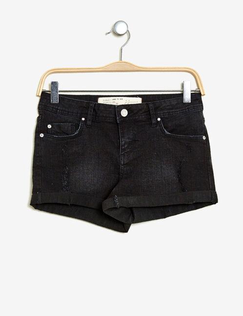 short en jean avec revers noir