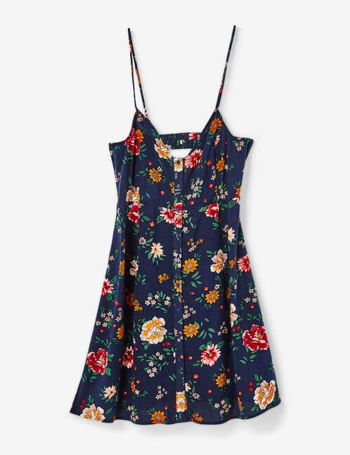 Navy blue floral button-front dress