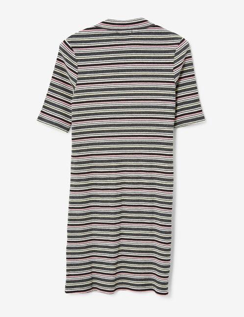robe côtelée rayée gris anthracite chiné, rose et jaune