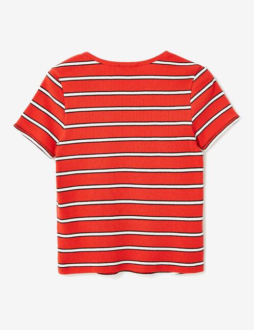 tee-shirt rayé rouge, blanc et noir