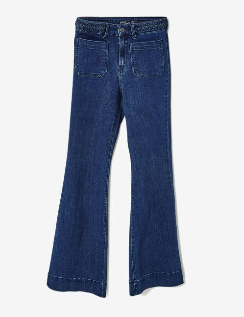 jean flare avec tresse medium blue