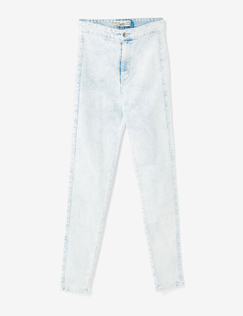 Super high-waisted bleached jeggings