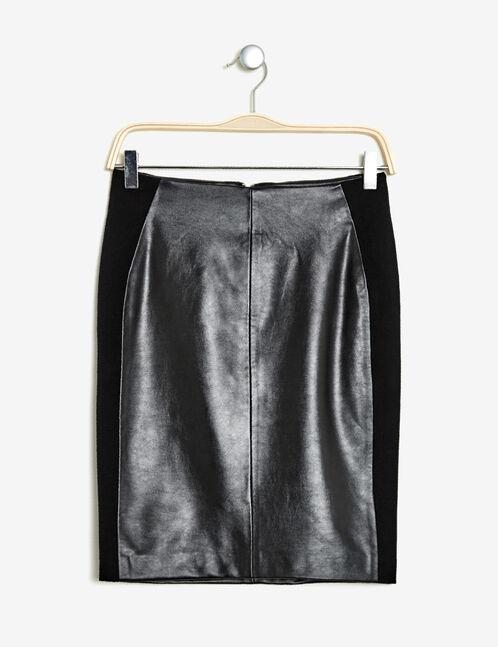 jupe tube bi-matière noire