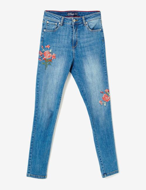Medium blue embroidered skinny jeans