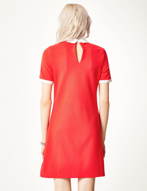 Red dress with white collar detail