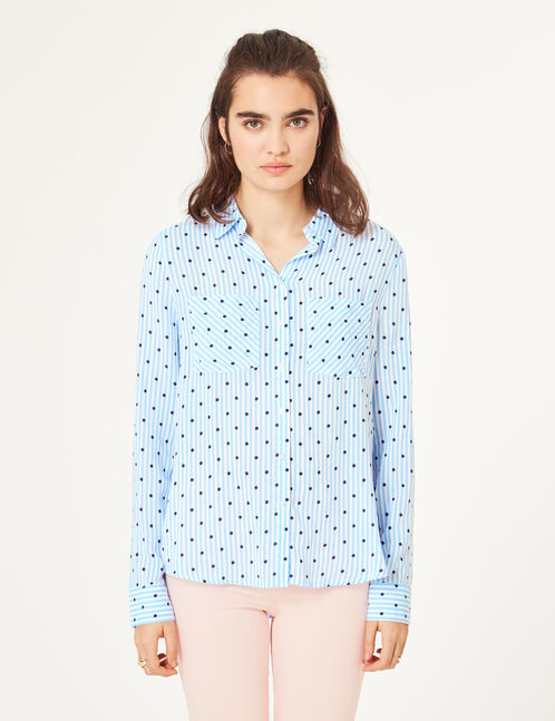 Cream and blue stripe and polka dot patterned shirt