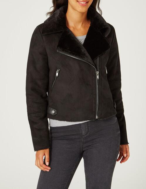 Black faux suede jacket