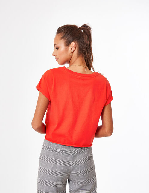 Red crop top with text design detail