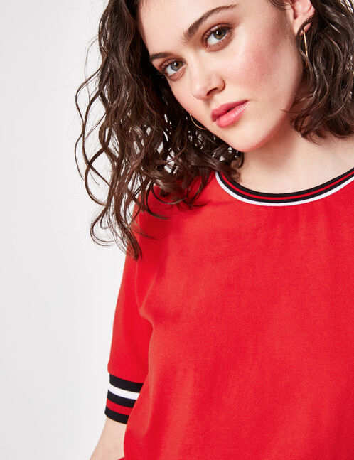 tee-shirt finitions rayées rouge