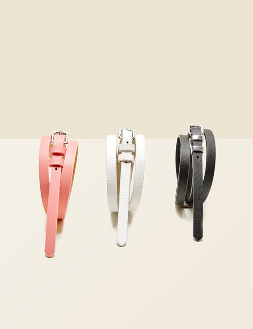 Black, white and pink skinny belts