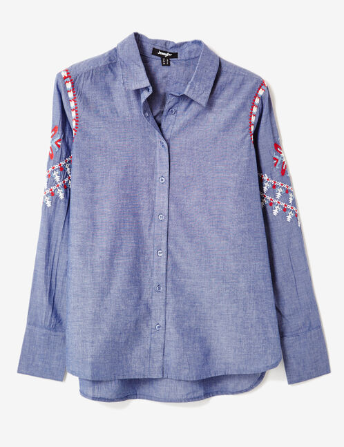Navy blue embroidered shirt