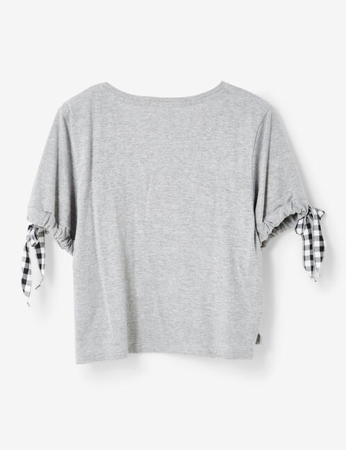 Grey marl T-shirt with gingham tie detail