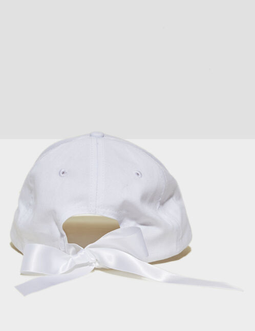 White cap with satin bow detail