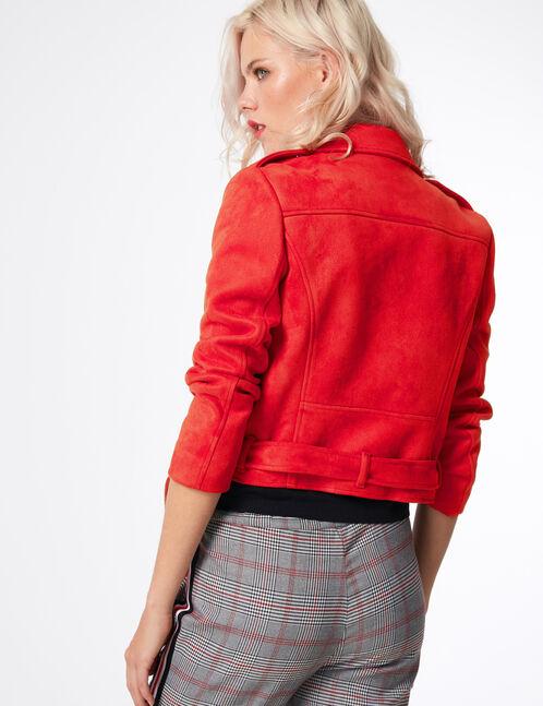 veste biker avec ceinture rouge