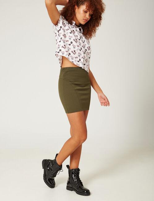 Khaki textured tube skirt