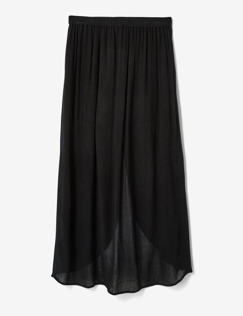 Black button-front skirt