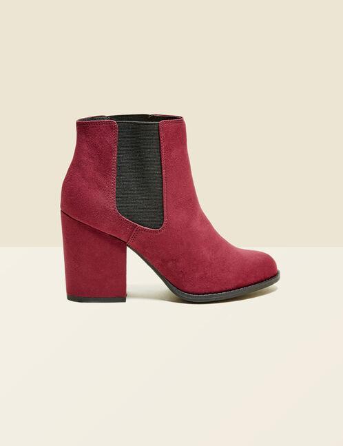 Black imitation suede elasticised ankle boots