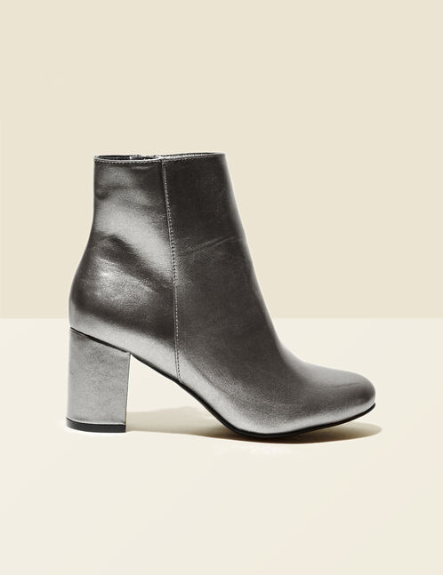 Silver heeled ankle boots