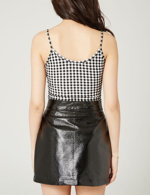 Black and white gingham bodysuit with patch detail