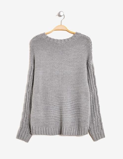 Grey marl textured knit jumper