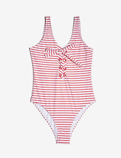 maillot de bain rayé rayé rouge et écru