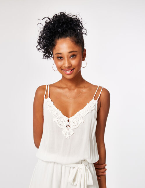 Cream playsuit with lace detail