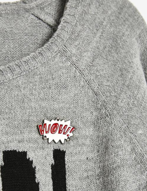 Grey marl jumper with badges
