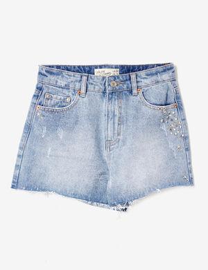 Product Short en jean femme, medium blue, taille haute, clous, finitions bords francs, 5 poches, fermeture zippée boutonnée.Marque Jennyfer Catégorie shorts
