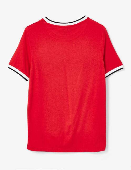 tee-shirt avec bandes rouge