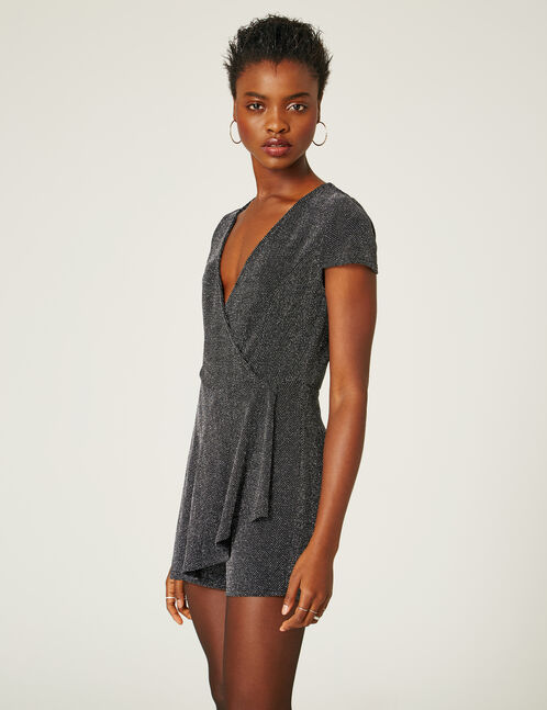 Silver and black sparkle-effect playsuit