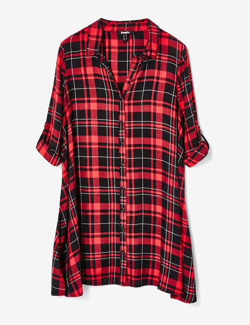 robe chemise évasée rouge et noire