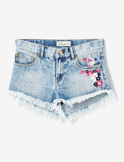 Light blue shorts with embroidered detail