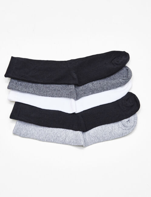 chaussettes mi-hautes basic noires, grises et blanches