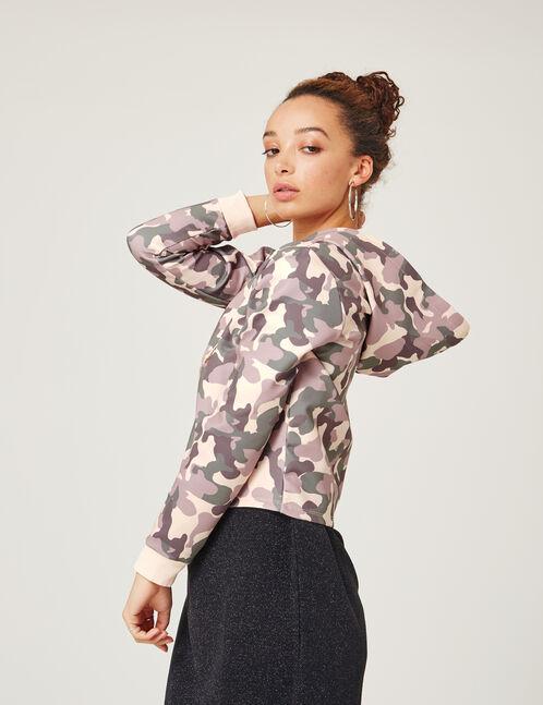 Khaki and light pink camouflage neoprene hoodie