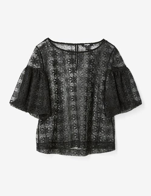blouse dentelle ajourée noire