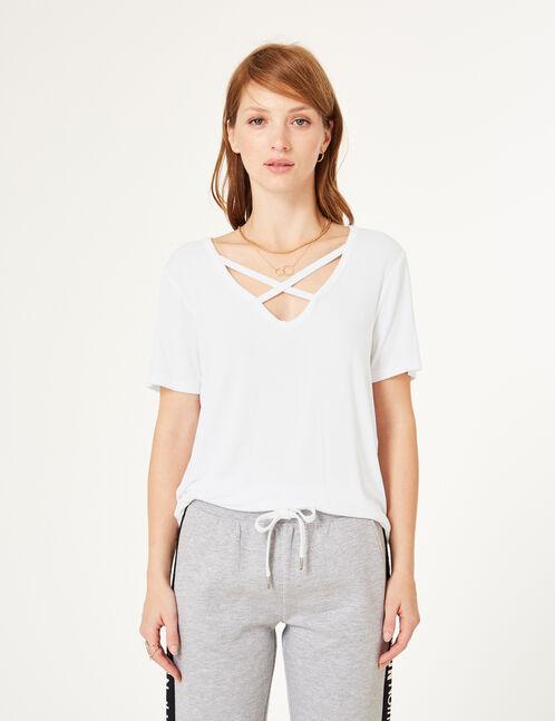 tee-shirt avec liens blanc